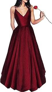Yangprom Long Spaghetti Straps V-Neck Satin A-line Prom Dress with Pockets