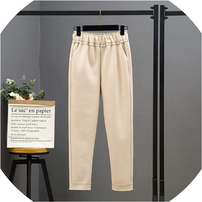 ShowShowFashion pants Women's Wopants Winter Loose Elastic Waist Women Trousers Plus Size Casual Solid Woolen Fe