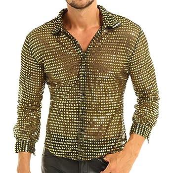 YiZYiF Men s 1920s Style Shiny Glitter Metallic Disco Party Tank Top Vest Clubwear Dancewear Costume Long Sleeve Gold X-Large