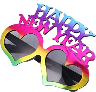 KESYOO Happy New Year Eyeglasses 2021 Party Heart Sungalsses Dress Up Eyewear Props Novelty Glasses for 2021 New Year Eve Party Supplies