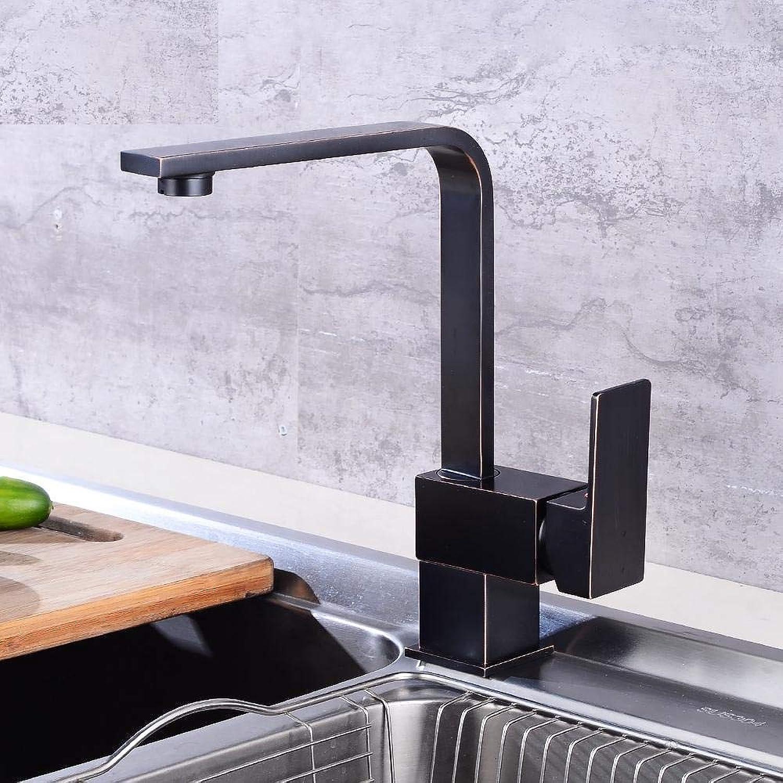 Küchenarmatur Spültischarmatur Schwarz 360 Wasserhahn Einlochmontage Einhebelmischer aus massivem Messing Kalt Warm Küchenarmatur Deck montiert