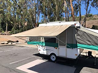 EZ Lite Campers Pop Up Tent Trailer Awning, Camping Trailer RV Awning 7ft Beige