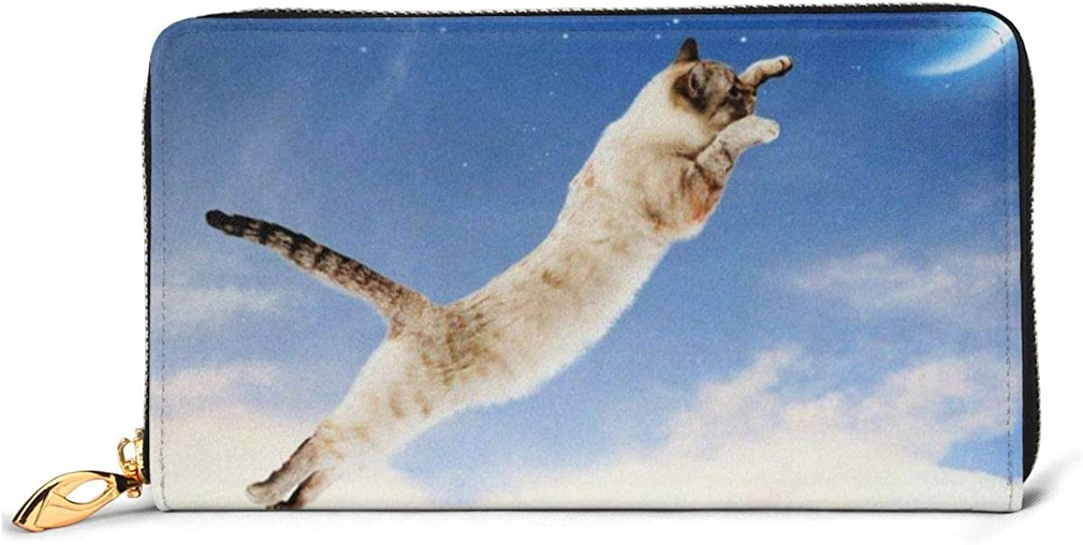 Cat Catching shop Moon Pattern Womens Wallets Genuine Wallet Leather