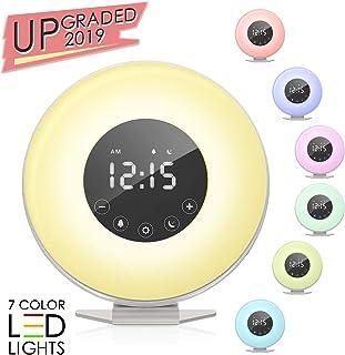 Sunrise Alarm Clock, Wake up Light 6 Nature Sounds, FM Radio, Color Light, Bedside Sunrise Simulator,Touch Control for Heavy Sleepers - White