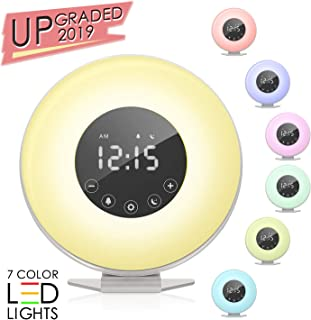 ACETEND Alarm Clock, Wake 6 Nature Sounds, FM Radio, Color Light, Bedside Sunrise Simulator,Touch Control for Heavy Sleepers-White