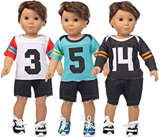 NWIL Anjetan 3PCS Doll Sports Outfit Set Mini Doll Baseball Outfit for 18in Doll Doll Baseball Uniforms for Baby Doll Clot...