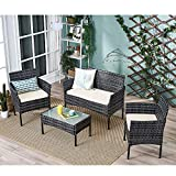 Panana Rattan Garden Furniture 4 Piece <span class='highlight'>Set</span> <span class='highlight'>Table</span> S<span class='highlight'>of</span>a Chair Patio Outdoor Conservatory Indoor Mixed Grey