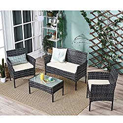 Dimensions -- Coffee Table: L 71cm x W 41cm x H 39.5cm; Single Chair: L 57cm x W 55cm x H 82cm; Double Chair: L 104cm x W 55cm x H 82cm High-Quality Material -- Constructed with a PE rattan weave material, UV treated, fade resistant, weatherproof, le...