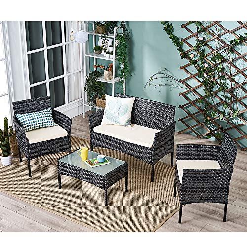 Panana Rattan Garden Furniture 4 Piece Set Table Sofa Chair Patio Outdoor Conservatory Indoor Mixed Grey