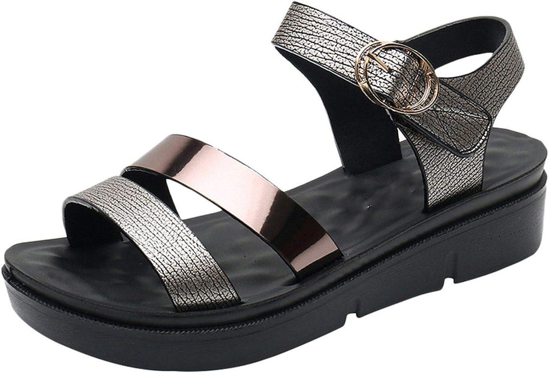 FINDYOU Women's Sandals Med Heel Wedges Summer Ladies Beach shoes Ankle Strap Platform Sandal Sequins Casual
