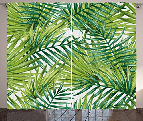 """Ambesonne Plant Curtains, Watercolor Tropical Palm Leaves Colorful Illustration Natural Feelings, Living Room Bedroom Window Drapes 2 Panel Set, 108"""" X 90"""", Lime Green"""