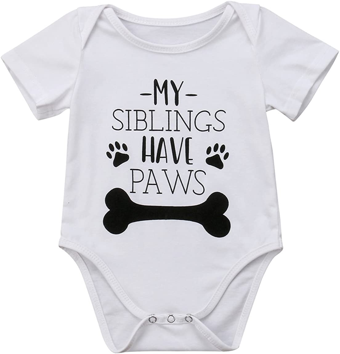 rechange Baby Boy Girl Short Louisville-Jefferson Chicago Mall County Mall Sleeve Bone Pr Cotton Letter Romper