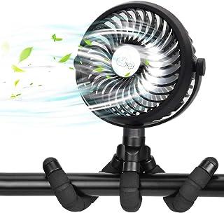Mini USB Ventilator Leise USB Lüfter, Clip Fan Tischventilator mit LED Lichts, 360°Drehung, 3 Geschwindigkeitsstufen, Handventilator, Akku Ventilator für Kinderwagen Zuhause Büro Auto Camping BBQ