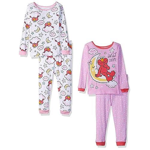 93ad317124 Sesame Street Little Girls  Toddler Elmo 4-Piece Cotton Pajama Set