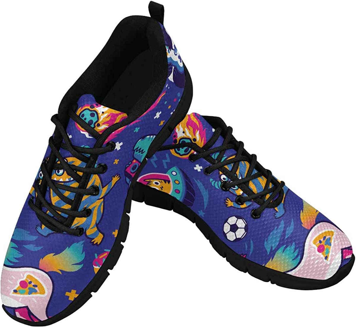 INTERESTPRINT Cosmic Aliens, Cool Unicorn, Panda Gamer Women Walking Shoes Comfortable Lightweight Work Casual Travel Sneakers