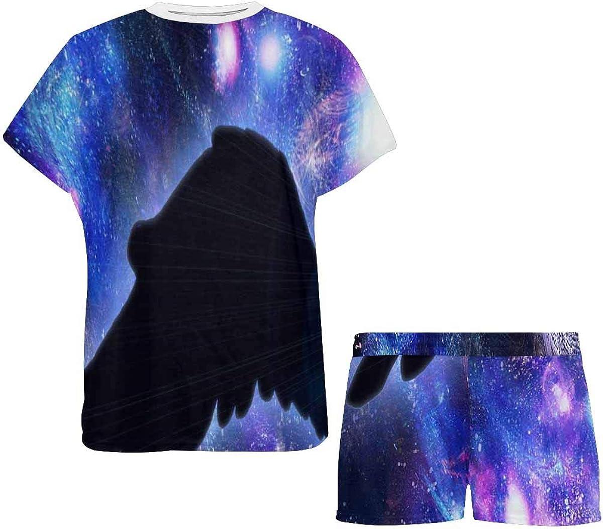 INTERESTPRINT Pegasus on a Star Background Women's Pajama Sets Short Sleeve Shorts - Pajamas for Women
