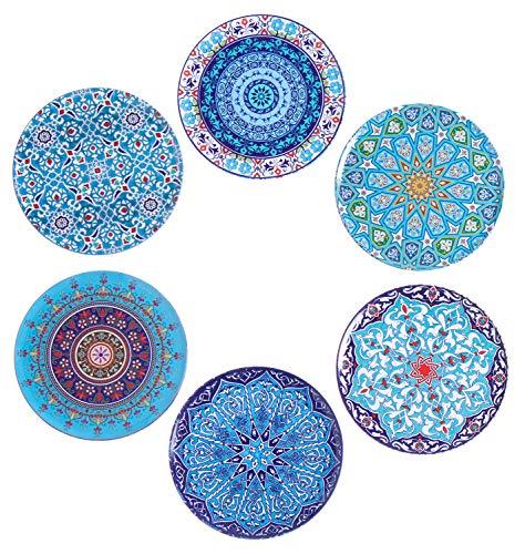 BABEL ARTESANIA Posavasos (Set de 6) - Regalos Originales Decorativos para café, Cocina, uno Drink, Taza, Vino, Tazas, Vasos, Cristal- Juego de mesas, Base Corcho para Mesa de Madera(Albaycin)