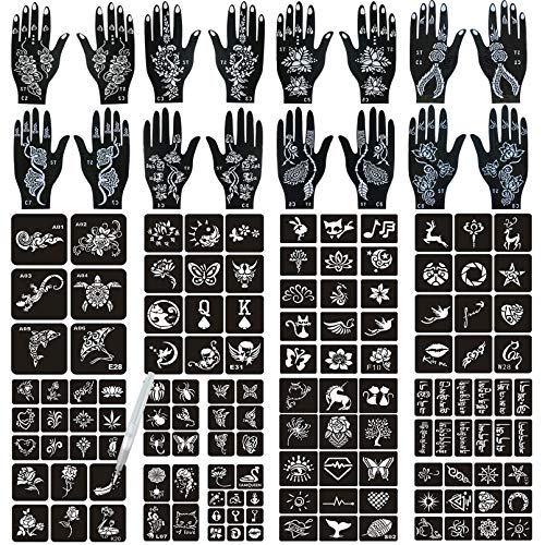 Henna Tattoo Stencils 138 PCS, 24 Sheets Black Tattoo Templates,Reusable Henna Tattoo Kit for Women Teens Girls,DIY Tattoo Stencils,Body Art Stencils