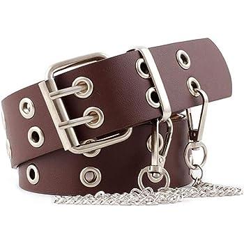 Bolonbi 2 Pack Double Grommet Belt, PU Leather Punk Belt 2