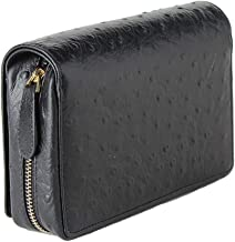Genuine Leather Tobacco Smoking Pipe Pouch Bag Organize Case Pipe Tools Holder Pocket for 3 Pipes, Multi Space Men Leather Wallet, Black