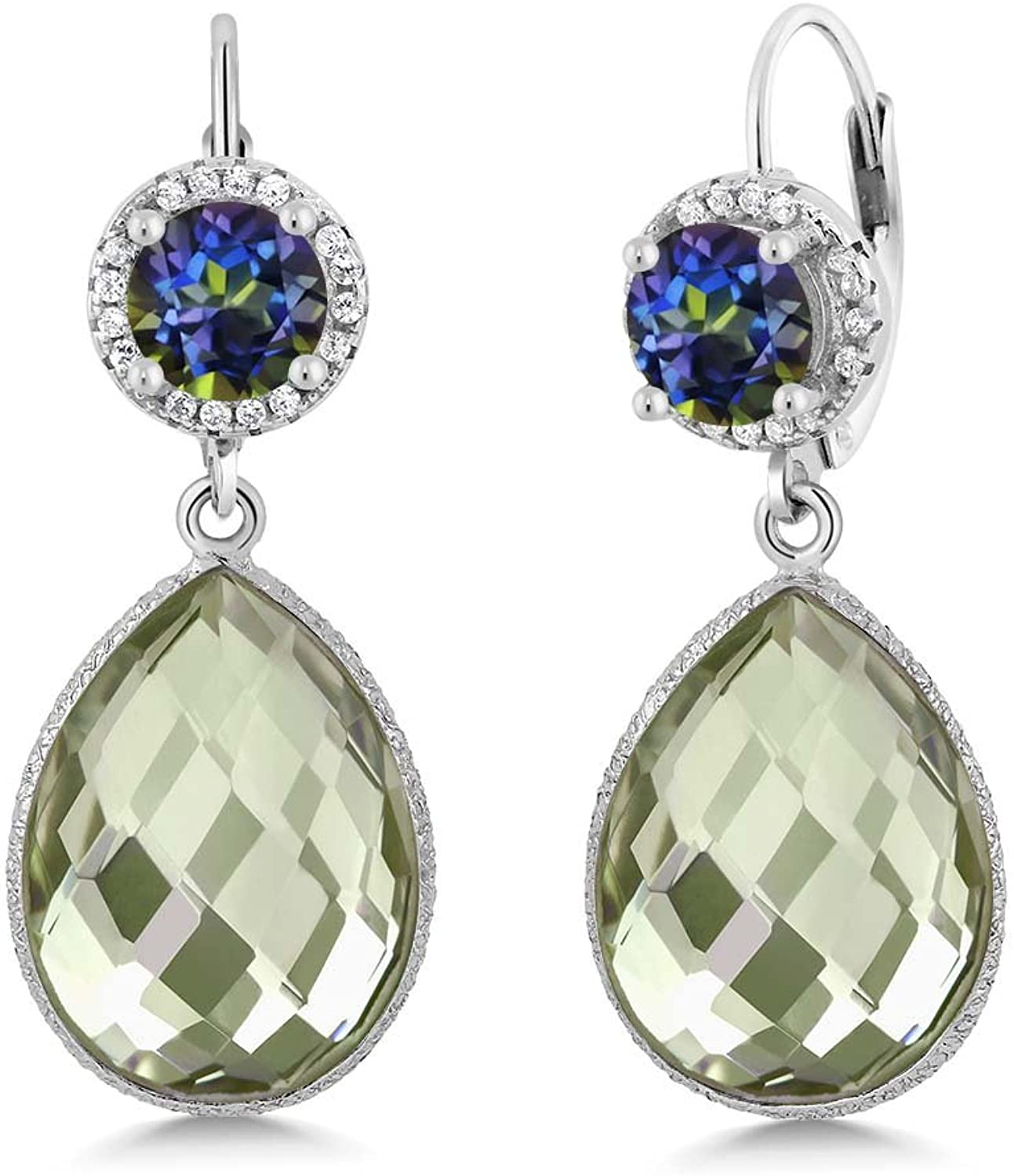 2.00 Ct Round bluee Mystic Topaz Pear Amethyst 925 Sterling Silver Earrings