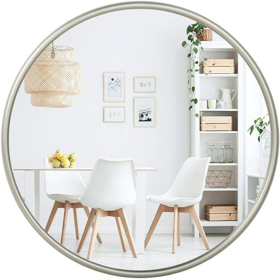 Contemporary Silver Metal Round Mirror (24