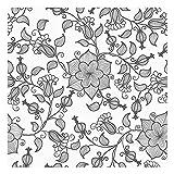Vinilo para Muebles y Pared, 40 x 300 cm, Trazado Floral, Color Negro, Fondo Blanco, VNL-131