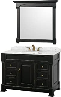 Wyndham Collection Andover 48 inch Single Bathroom Vanity in Black, White Carrara Marble Countertop, Undermount Oval Sink, and 44 inch Mirror