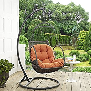 Modway EEI-2279-ORA-SET Arbor Outdoor Patio Balcony Porch Lounge Swing Chair Set with Stand Orange
