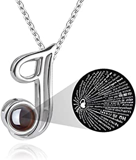 Initial Necklace for Women Gift - 26 A-Z Initial Letters Necklace Jewelry Personalized 100 Languages I Love U Pendant Necklace Best Gifts for Women Girl Mother's Day Birthday Parties