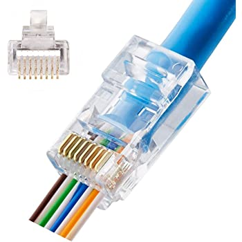 ASHATA 50Pcs Ethernet RJ45 Connector Cover,Durable Computer Network Cable Plug Sleeve Crystal Head Protector for CAT5e CAT6