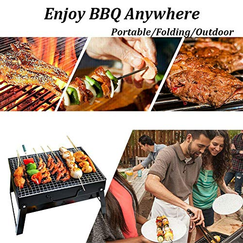 Portable Folding BBQ Barbecue Grill Charcoal Barbecue Desk Tabletop Outdoor for Picnic Garden Terrace Camping Travel…