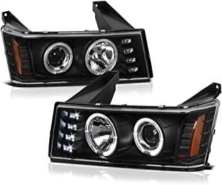 [For 2004-2012 Chevy Colorado GMC Canyon] LED Halo Ring Black Projector Headlight Headlamp Assembly, Driver & Passenger Side