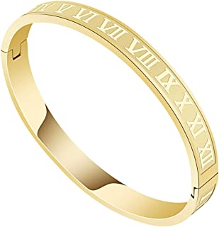 Gold Bracelets for Men Women Roman Numeral Bangle...