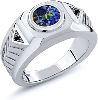 2.03 Ct Round Blue Mystic Topaz and Black Diamond 925 Sterling Silver Men's Ring