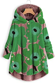 👏 Happylove 👏 Cute Hooded Plush Coat,Women Asymmetrical Design Wool & Blends Button Down Print Loose Cape Outwear
