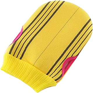 Soft Body Cleaning Bath Gloves Towels Bath Exfoliating Mitts 1 piece, YELLOW