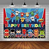 Superhero Backdrop Boy Birthday Avengers Party Supplies Banner Super Hero Buildings Kids Event Dessert Table Photography Background Decoration Photo Booth Studio Props