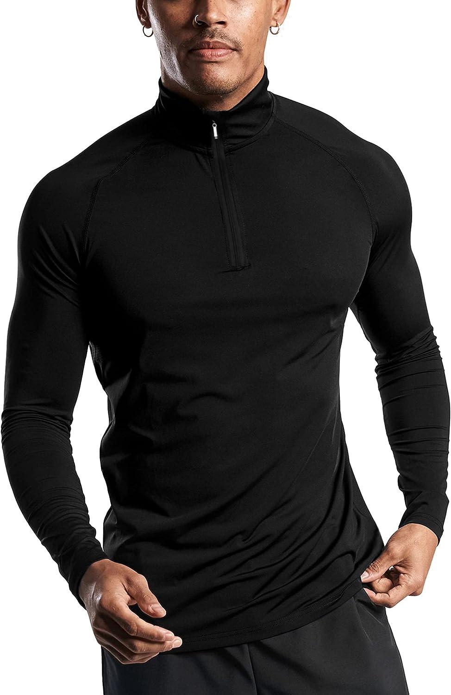 COOFANDY Men's 1/4 Zip Pullover Mens Quarter Zip Running Shirt Long Sleeve Quick Dry Lightweight Workout Shirts