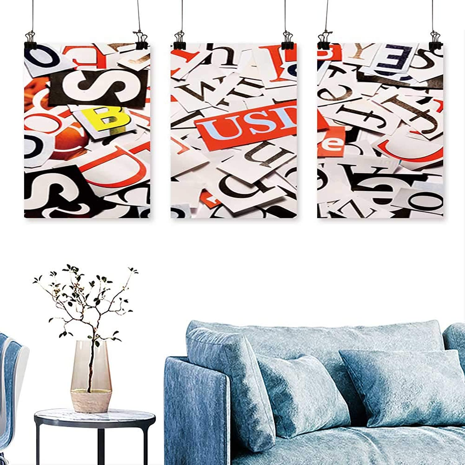 SCOCICI1588 3 Panels Triptych Letters Cut from Newspaper,Background for Home Modern Decoration No Frame 30 INCH X 60 INCH X 3PCS