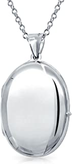 Engravable Plain Simple Oval Locket Pendant Necklace For Women Gift For Mother 925 Sterling Silver