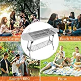 HTTMT- NEW FOLDING GRILLING STOVE STABLE VERSION-2.0 FOR TRAVEL SET STAINLESS STEEL BBQ BARBECUE GRILL STOVE CHARCOAL PICNIC CAMPING RV FISHING HUNTING [P/N: US-ET-COOK003]