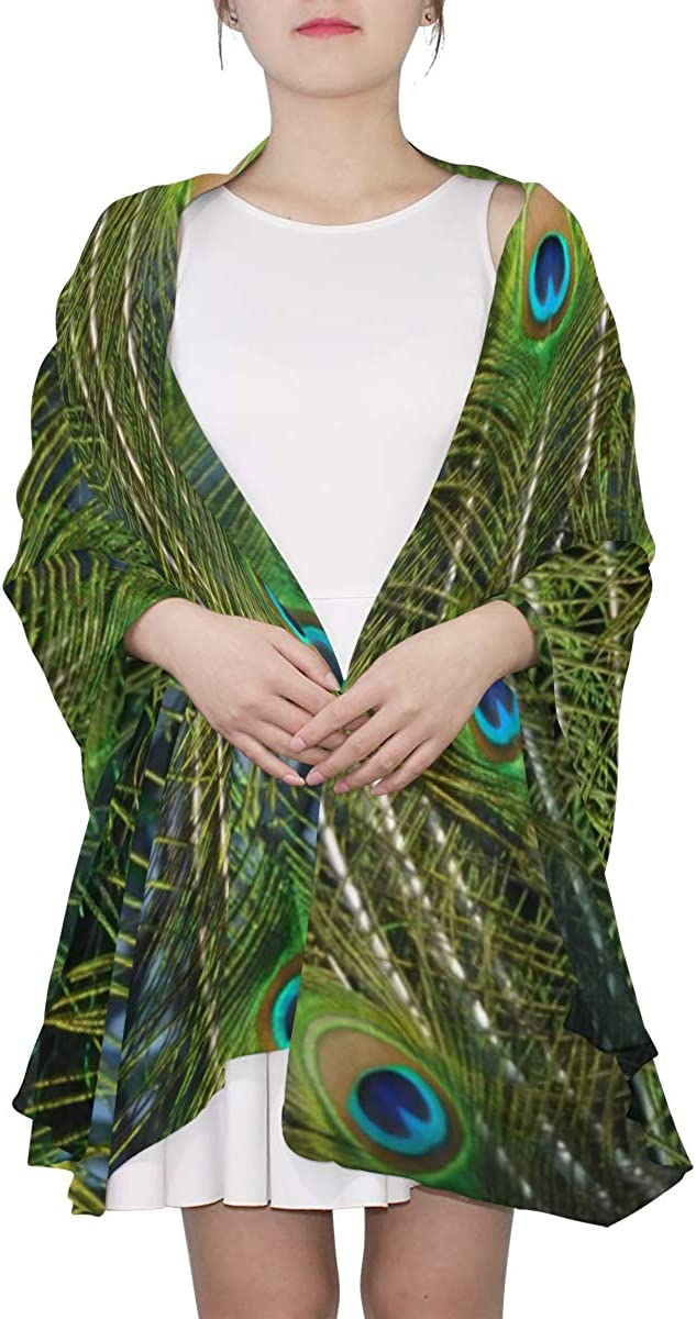 Embroidery Peacock Feathers Unique Fashion Scarf For Women Lightweight Fashion Fall Winter Print Scarves Shawl Wraps Gifts For Early Spring