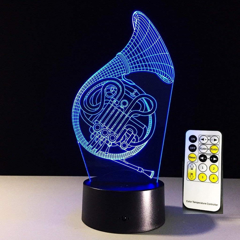 3D Optisch Illusionen Nachtlicht Saxophon Gestalten USB 7 Farbe ndern Schreibtischlampe mit Acryl Eben zum Geburtstag Weihnachten Geschenk (Farbe   Touch and Remote)