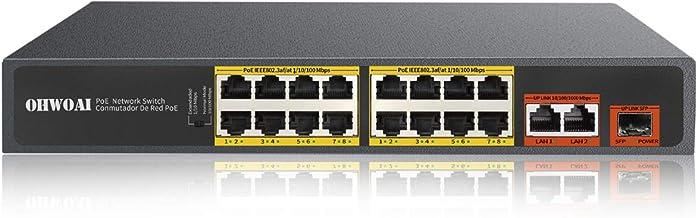 OHWOAI Unmanaged Poe Network Switch 16 Port+2 Ethernet Gigabit Uplink +1 SFP Port,300W Powered Gig Poe Hub,Desktop Poe Swi...