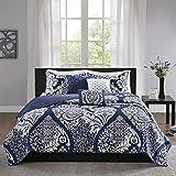 Madison Park Reversible Cotton Quilt-Luxury Stitching Design All Season, Breathable Coverlet Bedspread Bedding, Shams, Decorative Pillow, King/Cal King(104'x94'), Vienna, Damask Indigo 6 Piece