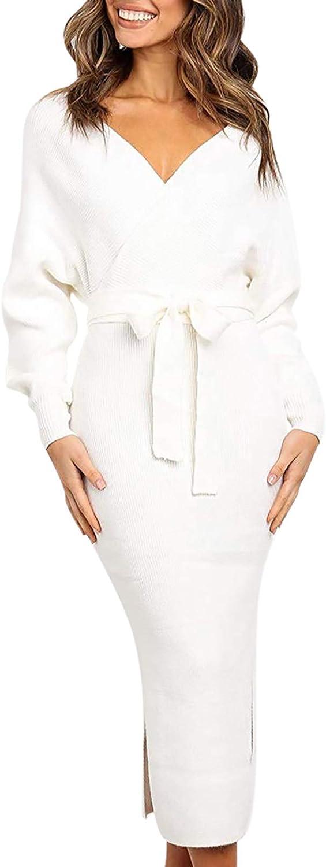 Linsery Women Wrap Sweater Dress Elegant V Neck Long Batwing Sleeve Slim Fit Slit Knit Long Dress with Belt