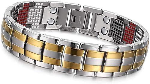Impression 3500 Gauss Double Strength Magnetic Health Bracelet Titanium Infrared Germanium Negative Ions Elemental Bracelet for Boys Men Silver Gold