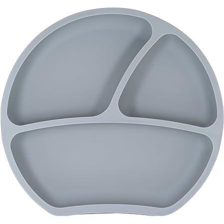 Kindsgut Piatto bebè in silicone con ventosa, grigio scuro