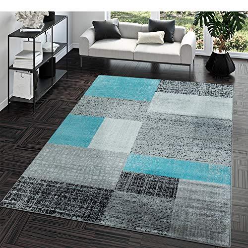 Kurzflor Teppich Preiswert Pflegeleicht Vintage Karo Muster Weiß Grau Türkis, Größe:80x150 cm